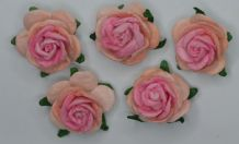 2.5cm PALE PINK PINK CENTER Mulberry Paper Roses (only flower head)